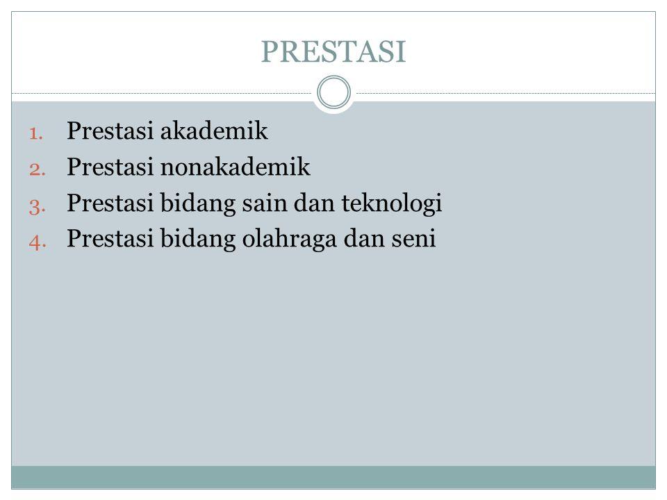 PRESTASI 1.Prestasi akademik 2. Prestasi nonakademik 3.
