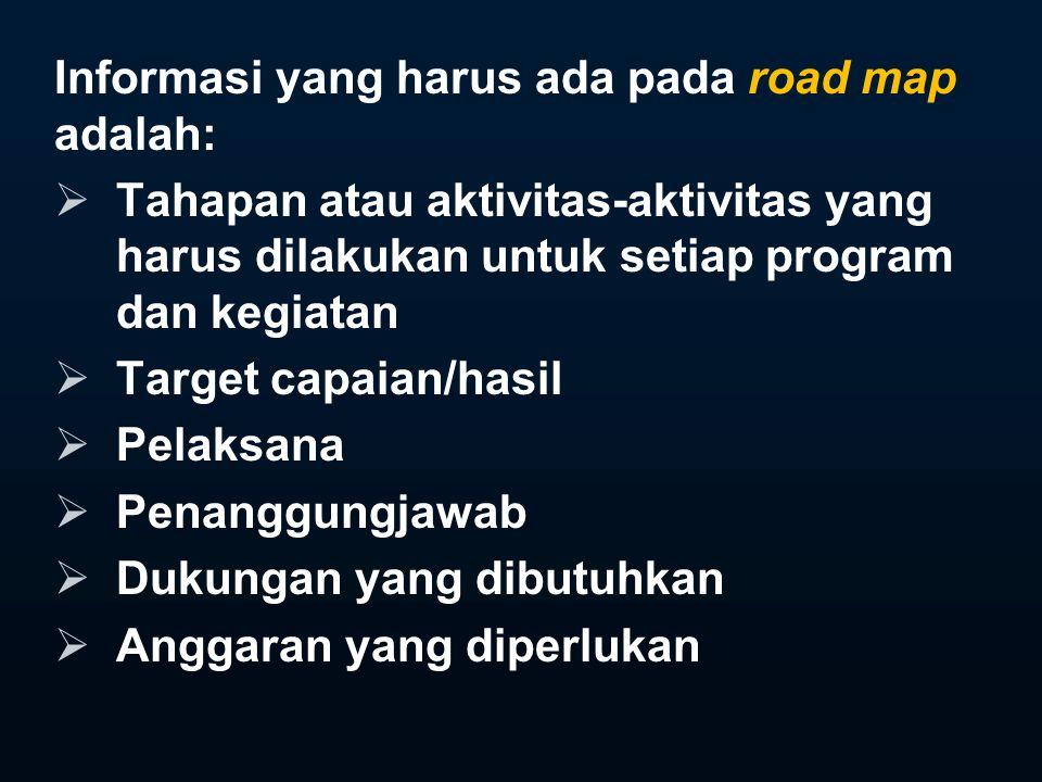 Informasi yang harus ada pada road map adalah:  Tahapan atau aktivitas-aktivitas yang harus dilakukan untuk setiap program dan kegiatan  Target capaian/hasil  Pelaksana  Penanggungjawab  Dukungan yang dibutuhkan  Anggaran yang diperlukan