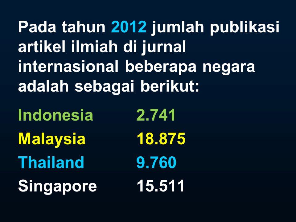 Pada tahun 2012 jumlah publikasi artikel ilmiah di jurnal internasional beberapa negara adalah sebagai berikut: Indonesia 2.741 Malaysia18.875 Thailand9.760 Singapore15.511