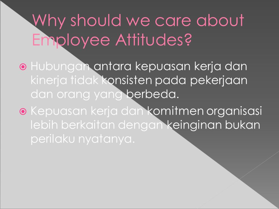 Why should we care about Employee Attitudes.