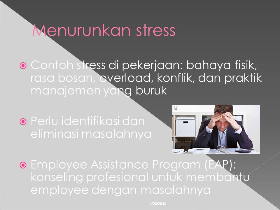 6/26/2016 Menurunkan stress  Contoh stress di pekerjaan: bahaya fisik, rasa bosan, overload, konflik, dan praktik manajemen yang buruk  Perlu identifikasi dan eliminasi masalahnya  Employee Assistance Program (EAP): konseling profesional untuk membantu employee dengan masalahnya