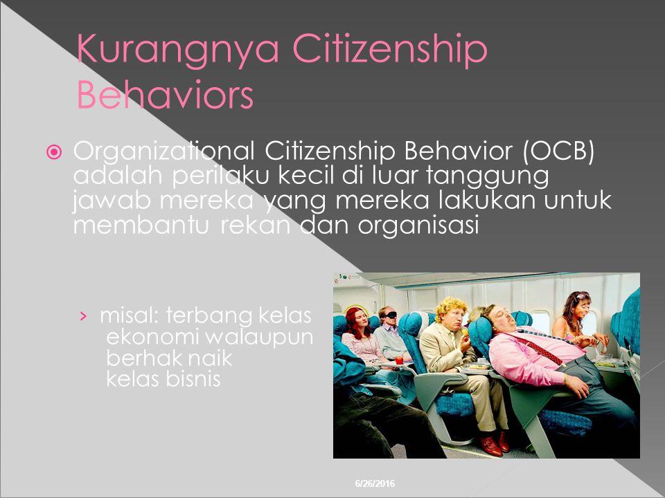 6/26/2016 Kurangnya Citizenship Behaviors  Organizational Citizenship Behavior (OCB) adalah perilaku kecil di luar tanggung jawab mereka yang mereka lakukan untuk membantu rekan dan organisasi › misal: terbang kelas ekonomi walaupun berhak naik kelas bisnis