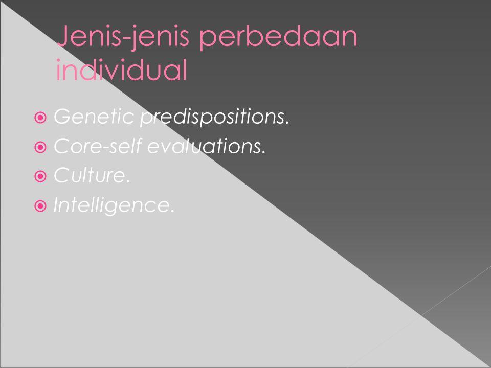Jenis-jenis perbedaan individual  Genetic predispositions.
