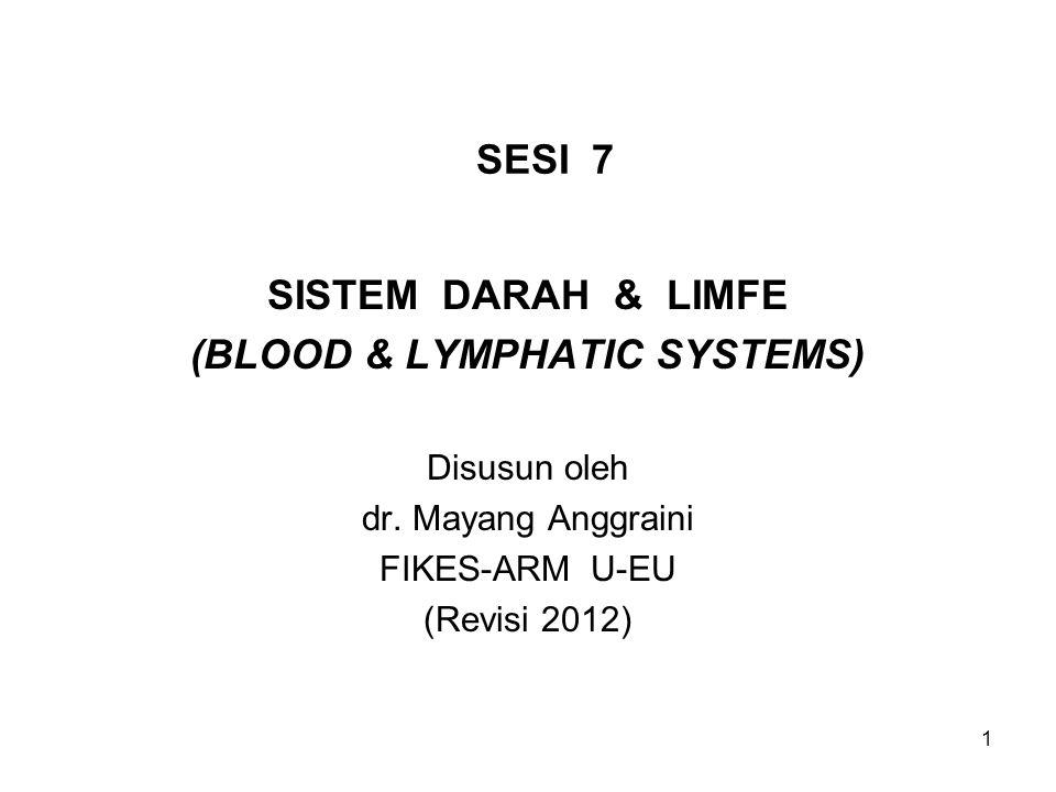 1 SESI 7 SISTEM DARAH & LIMFE (BLOOD & LYMPHATIC SYSTEMS) Disusun oleh dr. Mayang Anggraini FIKES-ARM U-EU (Revisi 2012)