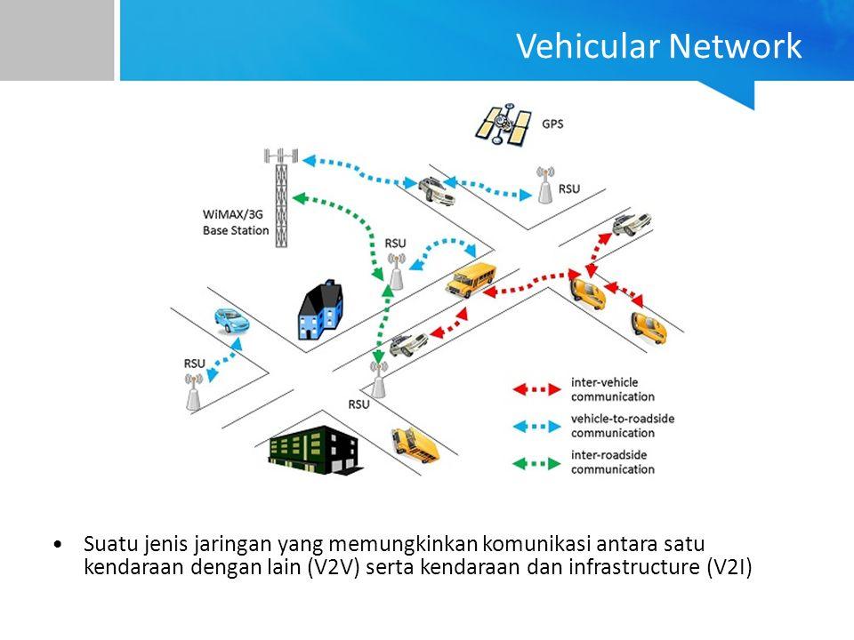 Vehicular Network Suatu jenis jaringan yang memungkinkan komunikasi antara satu kendaraan dengan lain (V2V) serta kendaraan dan infrastructure (V2I)