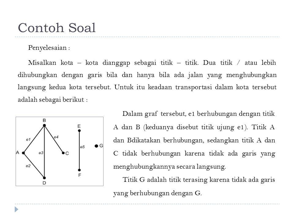 Contoh Soal Penyelesaian : Misalkan kota – kota dianggap sebagai titik – titik. Dua titik / atau lebih dihubungkan dengan garis bila dan hanya bila ad