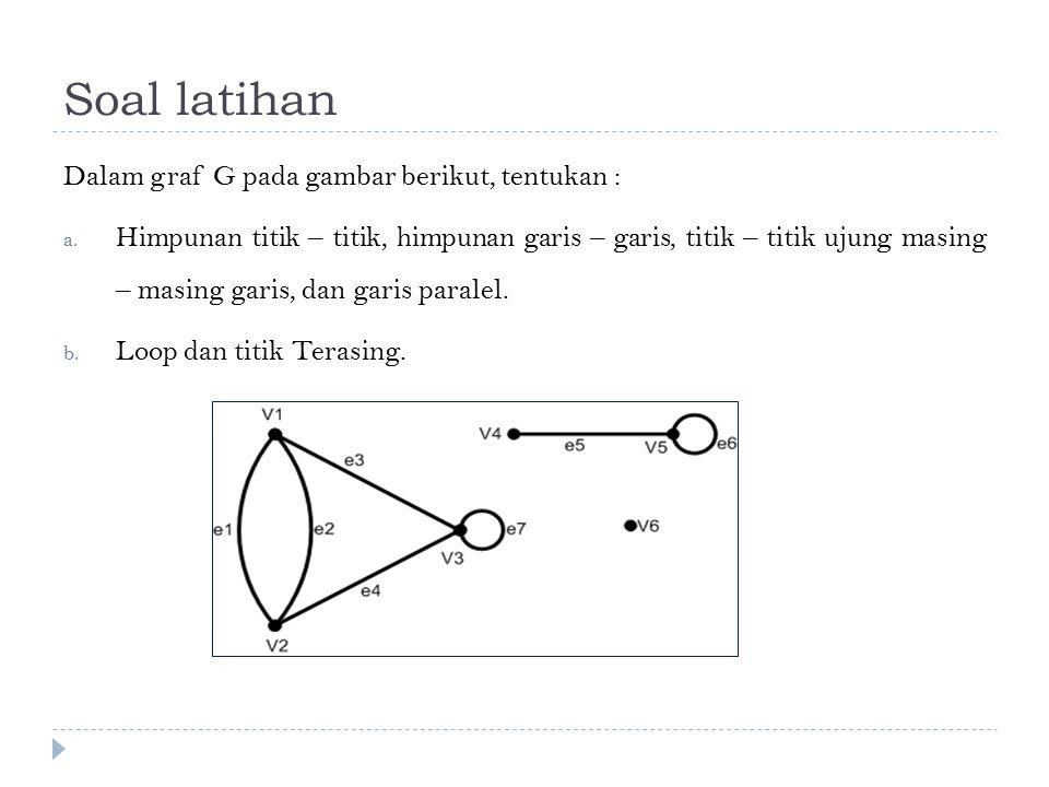 Soal latihan Dalam graf G pada gambar berikut, tentukan : a. Himpunan titik – titik, himpunan garis – garis, titik – titik ujung masing – masing garis