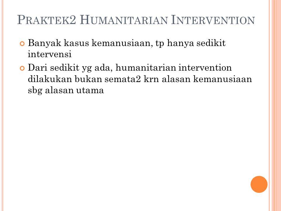B ATASAN 2 DLM MELAKUKAN HUMANITARIAN INTERVENTION : HAM dlm situasi yg sangat buruk / darurat Negara ybs tdk dapat mengatasinya Penggunaan kekuatan senjata sbg alternatif terakhir Dilakukan secara kolektif Tujuannya terbatas pd aspek2 kemanusiaan