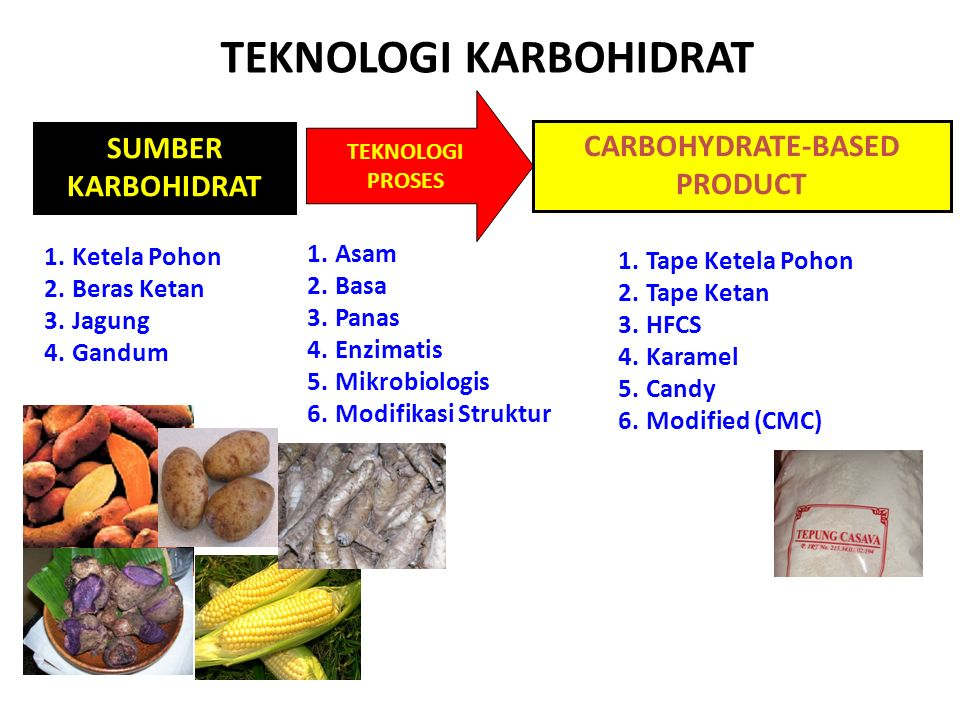 TEKNOLOGI KARBOHIDRAT SUMBER KARBOHIDRAT TEKNOLOGI PROSES CARBOHYDRATE-BASED PRODUCT 1.Ketela Pohon 2.Beras Ketan 3.Jagung 4.Gandum 1.Tape Ketela Poho