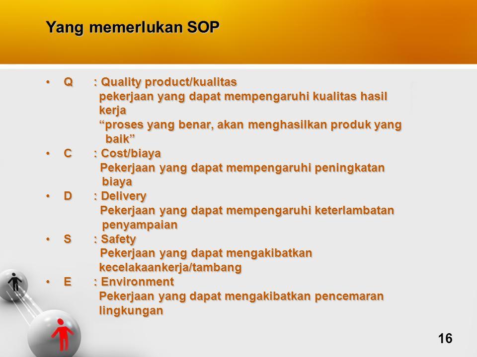 Yang memerlukan SOP Q: Quality product/kualitasQ: Quality product/kualitas pekerjaan yang dapat mempengaruhi kualitas hasil pekerjaan yang dapat mempe