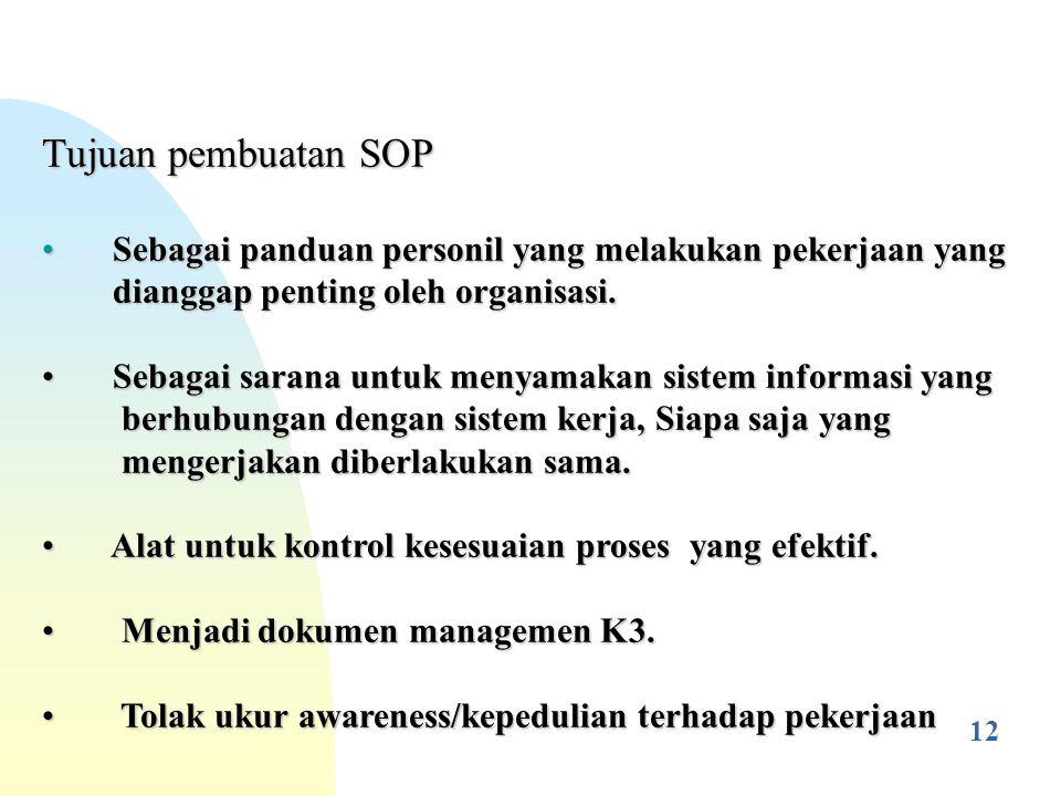 Hal-hal yang perlu diperhatikan didalam pembuatan, penyimpanan dan pemeliharaan SOP : AKK hendaknya dipakai sebagai dasar pembuatan; SOP dirancang oleh petugas atau tim khusus yang benar- benar mengetahui prosedur teknis & keselamatan tugas berbahaya tsb.
