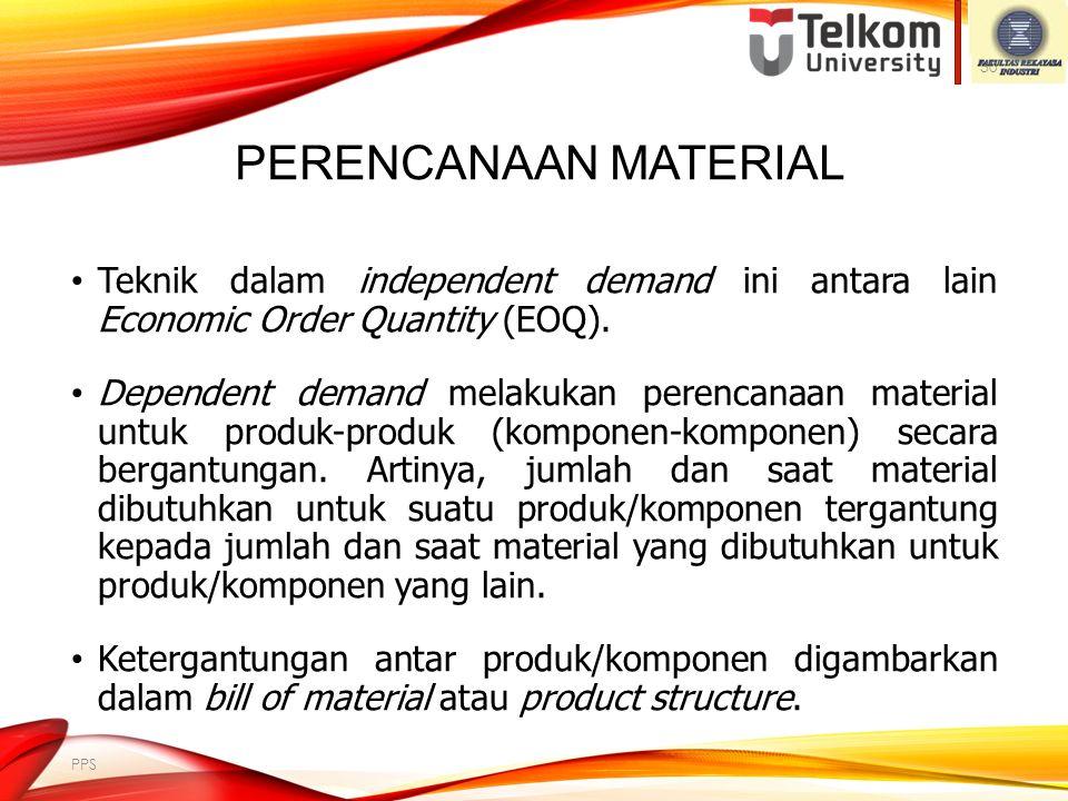 PERENCANAAN MATERIAL Perencanaan material adalah penentuan jumlah material yang diperlukan untuk memenuhi MPS dan saat pemenuhan material tersebut. Pe