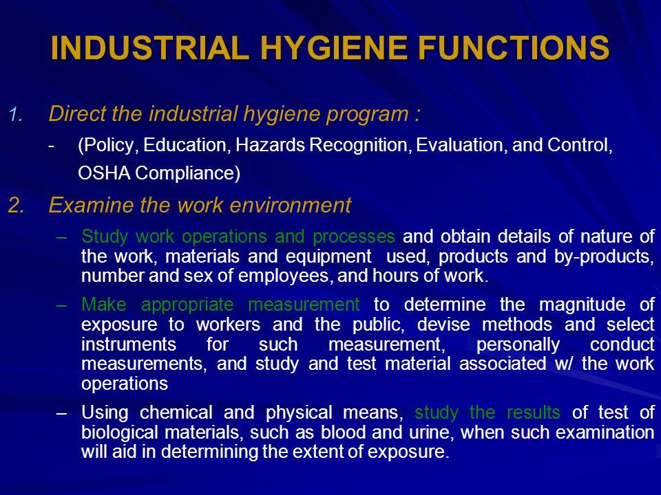  Dusts and Fibers   Noise  Ionizing Radiation  Non-Ionizing Radiation  Corrosives  Temperature Extremes