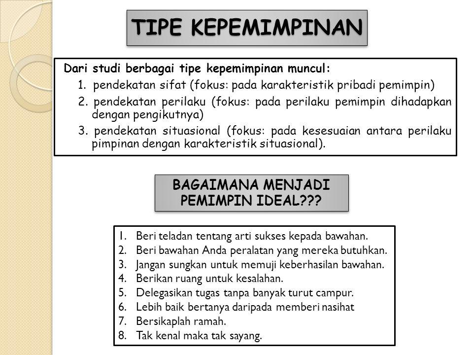 TIPE KEPEMIMPINAN Dari studi berbagai tipe kepemimpinan muncul: 1. pendekatan sifat (fokus: pada karakteristik pribadi pemimpin) 2. pendekatan perilak