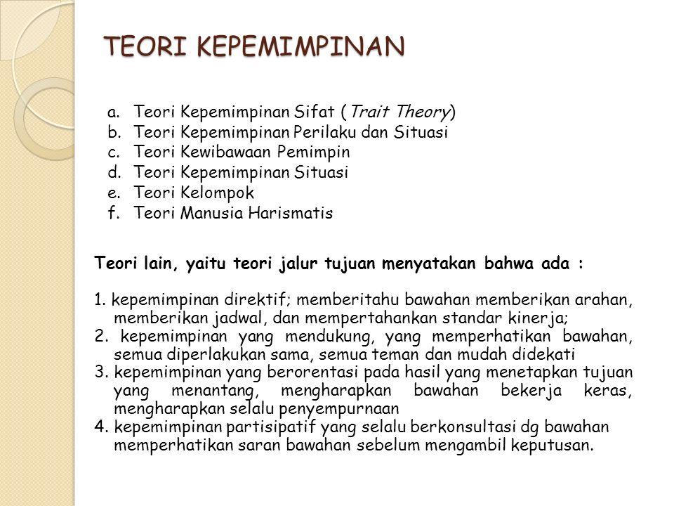TEORI KEPEMIMPINAN a.Teori Kepemimpinan Sifat (Trait Theory) b.Teori Kepemimpinan Perilaku dan Situasi c.Teori Kewibawaan Pemimpin d.Teori Kepemimpina