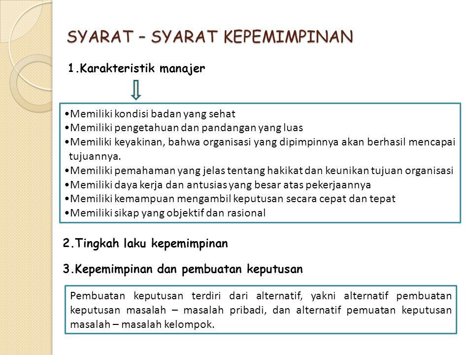 SYARAT – SYARAT KEPEMIMPINAN 1.Karakteristik manajer Memiliki kondisi badan yang sehat Memiliki pengetahuan dan pandangan yang luas Memiliki keyakinan