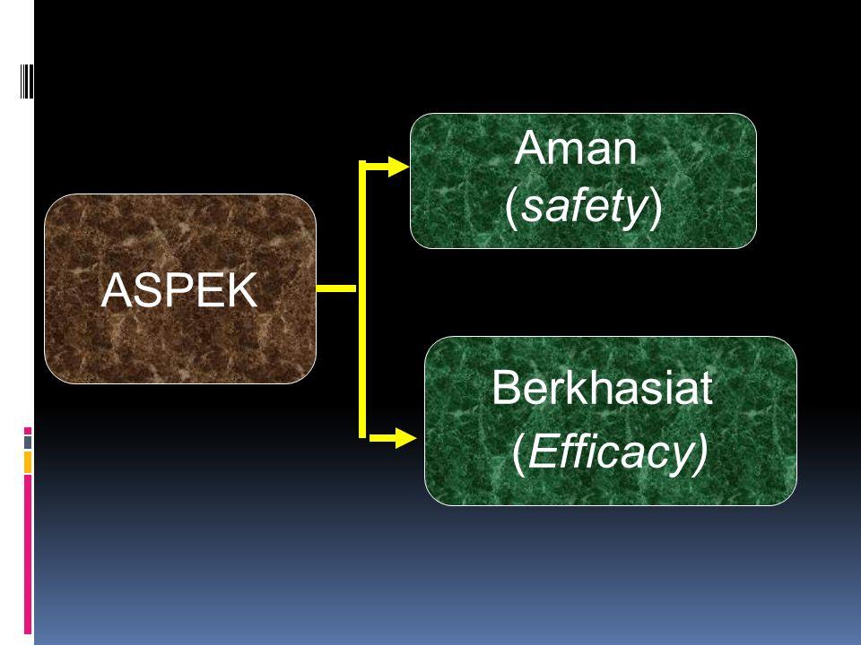 Aspek Penajaminan mutu penerapan standardisasi pada sediaan obat herbal Jaminan khasiat berlandaskan hasil- hasil penelitian ilmiah  sumber- sumber dapat dipertanggung jawabkan