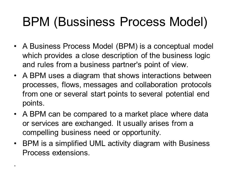 BPM (Bussiness Process Model) Menyatakan aliran seluruh proses dalam sistem dari awal hingga akhir Terdapat decision process, paralel process Melibatkan resourses database