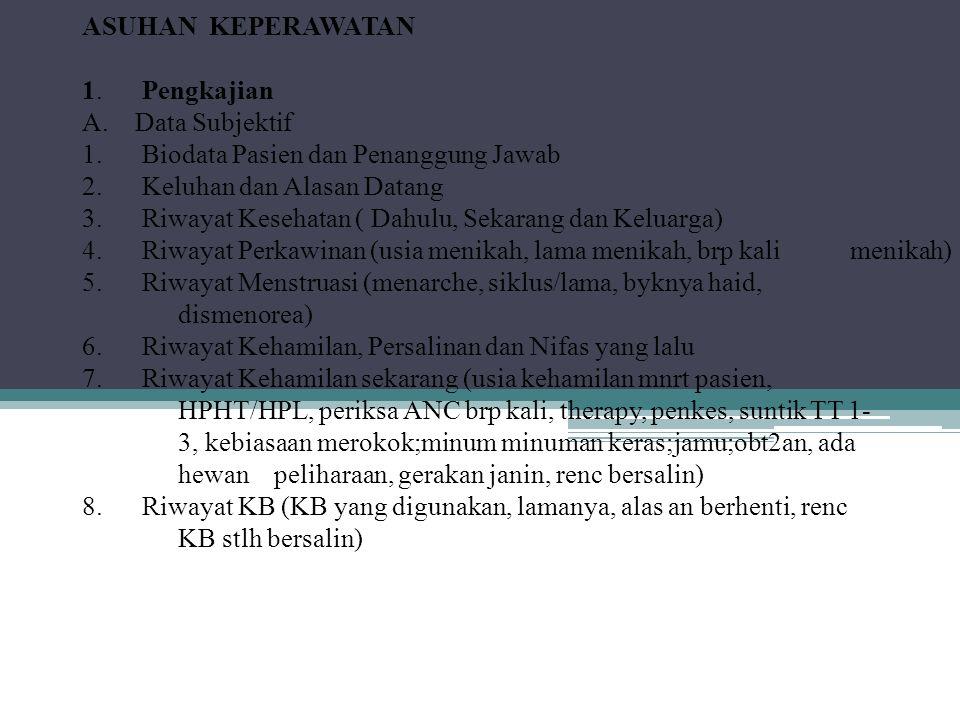 ASUHAN KEPERAWATAN 1. Pengkajian A. Data Subjektif 1.