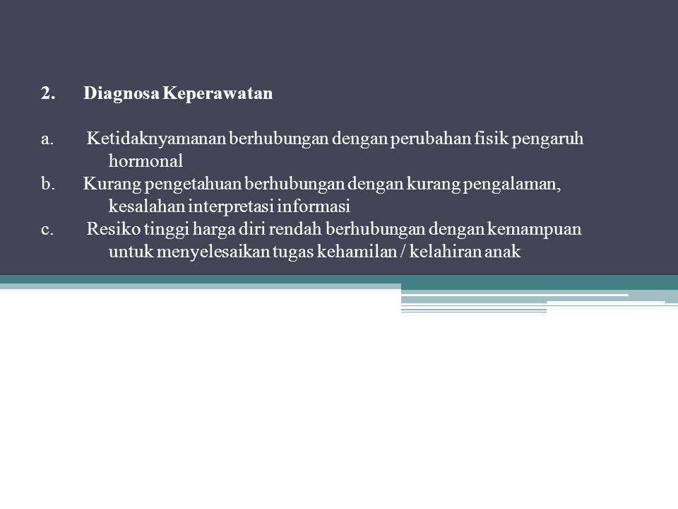 2. Diagnosa Keperawatan a. Ketidaknyamanan berhubungan dengan perubahan fisik pengaruh hormonal b.