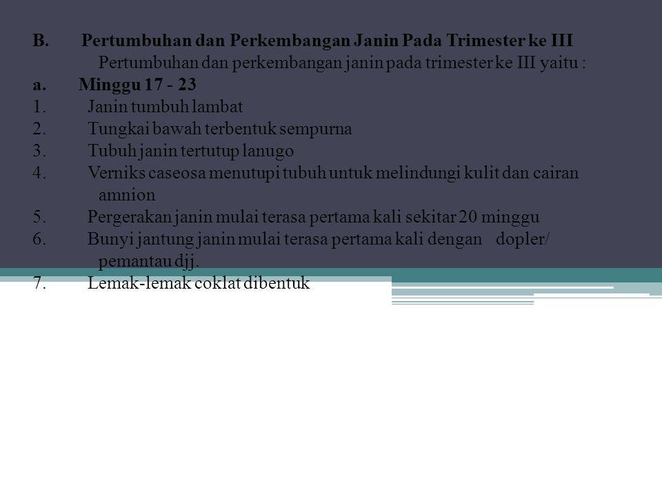 B. Pertumbuhan dan Perkembangan Janin Pada Trimester ke III Pertumbuhan dan perkembangan janin pada trimester ke III yaitu : a. Minggu 17 - 23 1. Jani