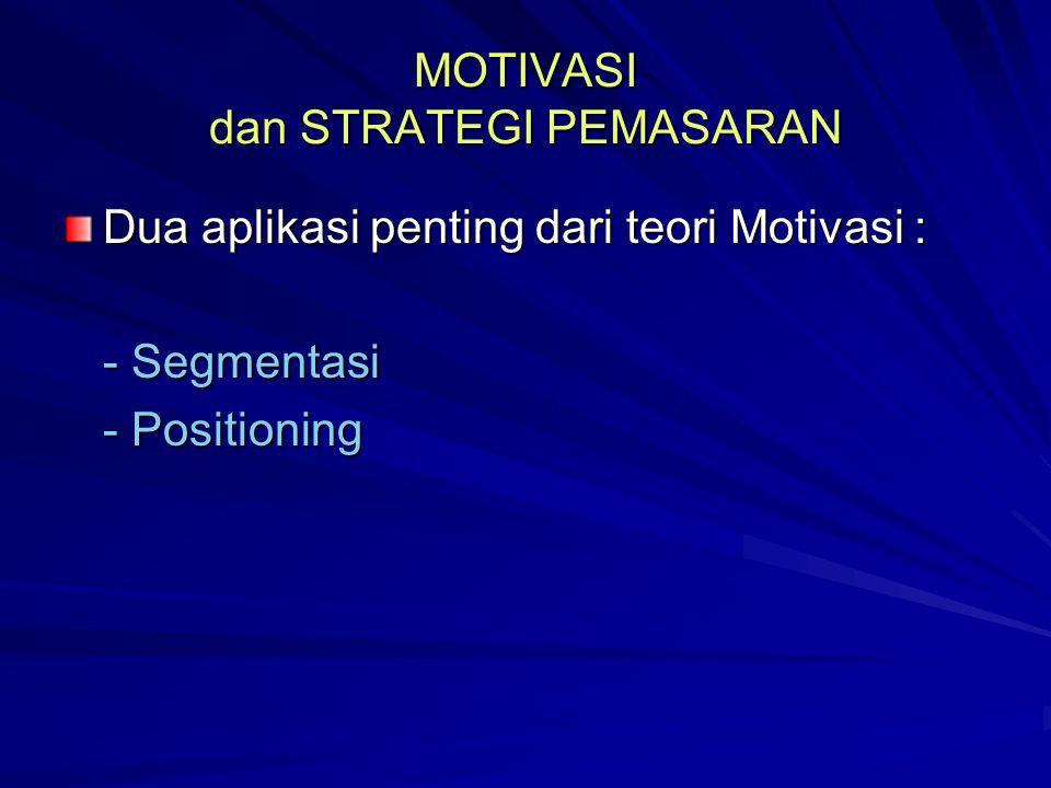 MOTIVASI dan STRATEGI PEMASARAN Dua aplikasi penting dari teori Motivasi : - Segmentasi - Positioning