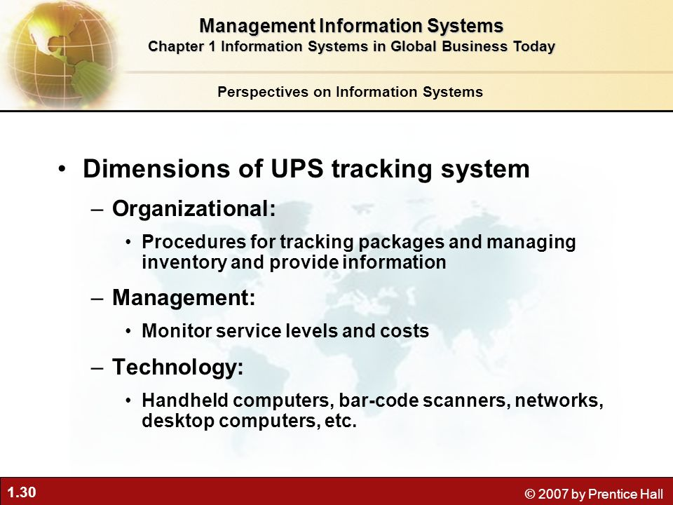 1.30 © 2007 by Prentice Hall Dimensions of UPS tracking system –Organizational: Procedures for tracking packages and managing inventory and provide information –Management: Monitor service levels and costs –Technology: Handheld computers, bar-code scanners, networks, desktop computers, etc.