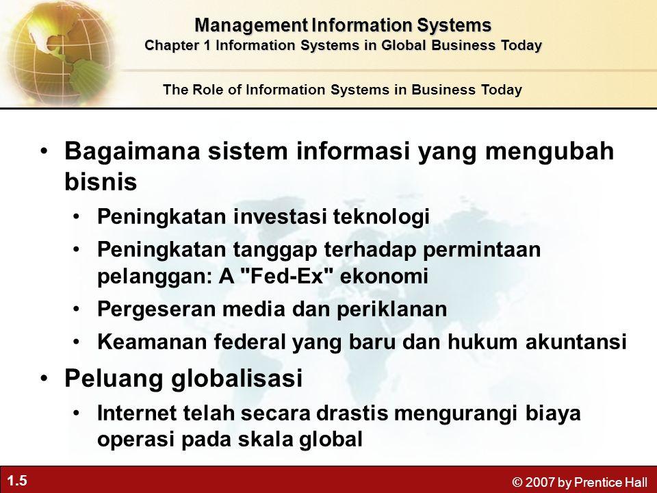 1.16 © 2007 by Prentice Hall Kelangsungan hidup –Teknologi informasi sebagai kebutuhan bisnis –Mungkin : Industry-level changes, e.g.