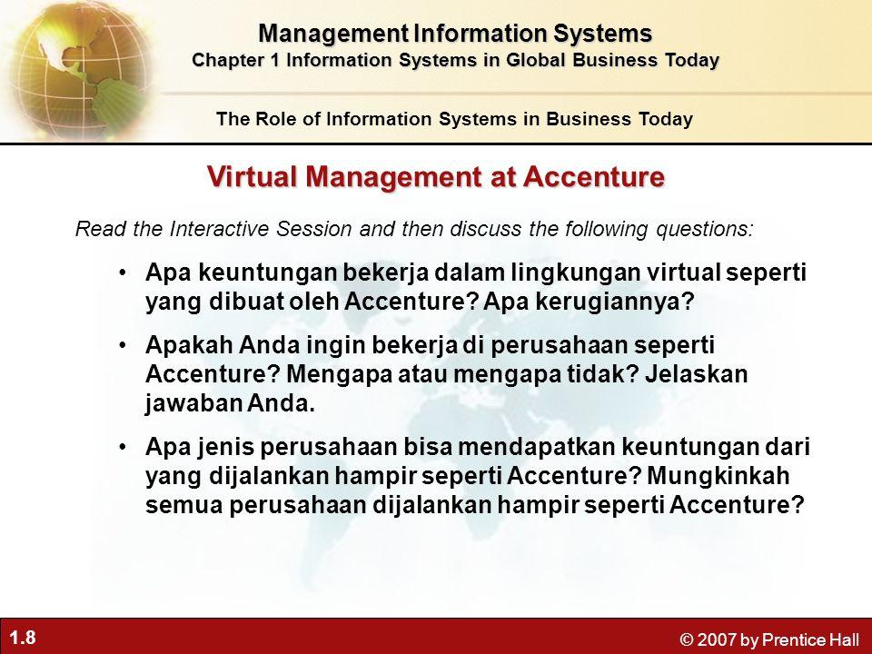 1.9 © 2007 by Prentice Hall Tumbuh saling ketergantungan antara kemampuan untuk menggunakan teknologi informasi dan kemampuan untuk menerapkan strategi perusahaan dan mencapai tujuan perusahaan.