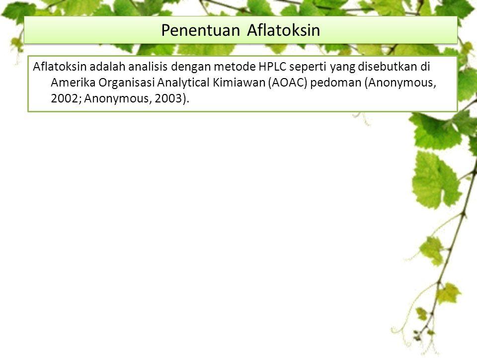 Aflatoksin adalah analisis dengan metode HPLC seperti yang disebutkan di Amerika Organisasi Analytical Kimiawan (AOAC) pedoman (Anonymous, 2002; Anonymous, 2003).