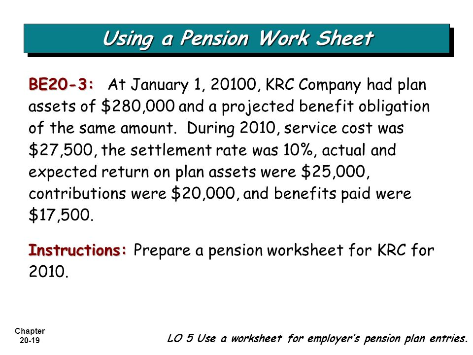 Chapter 20-19 BE20-3: BE20-3: At January 1, 20100, KRC Company had plan assets of $280,000 and a projected benefit obligation of the same amount. Duri