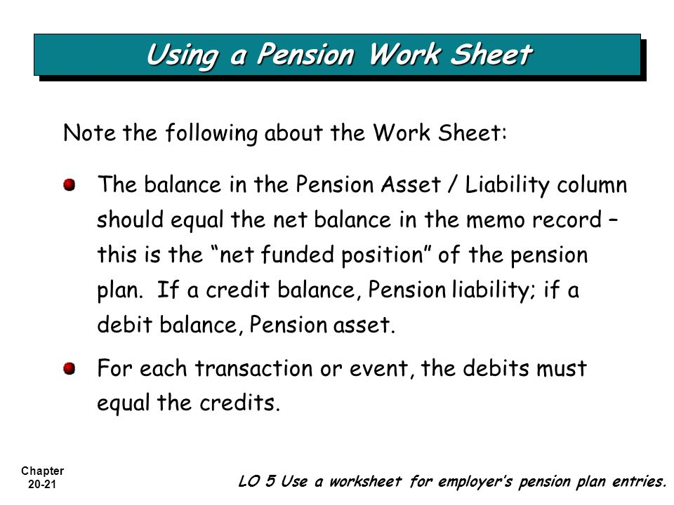 Chapter 20-21 Note the following about the Work Sheet: Using a Pension Work Sheet LO 5 Use a worksheet for employer's pension plan entries. The balanc