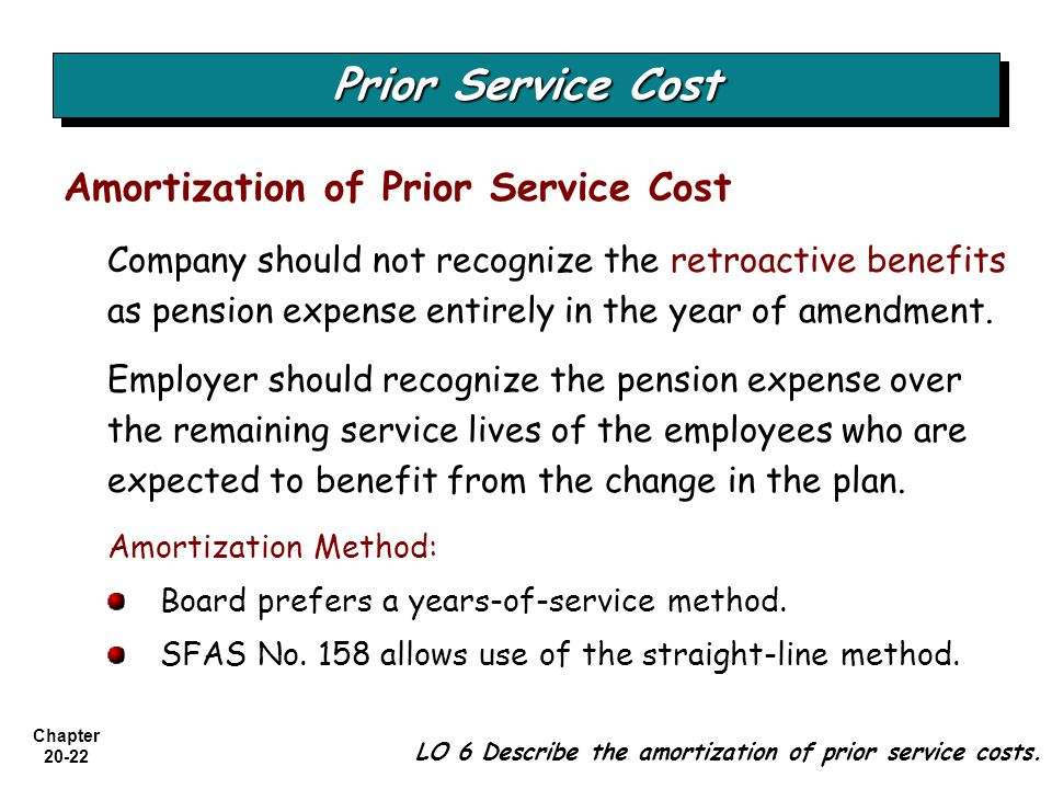 Chapter 20-22 Amortization of Prior Service Cost Company should not recognize the retroactive benefits as pension expense entirely in the year of amen