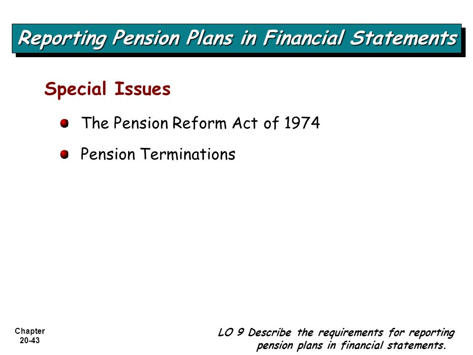 Chapter 20-43 Special Issues The Pension Reform Act of 1974 Pension Terminations Reporting Pension Plans in Financial Statements LO 9 Describe the req