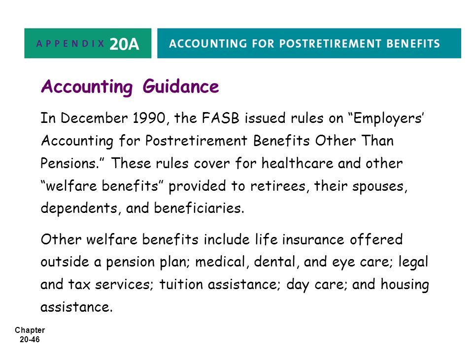 "Chapter 20-46 Accounting Guidance In December 1990, the FASB issued rules on ""Employers' Accounting for Postretirement Benefits Other Than Pensions."""