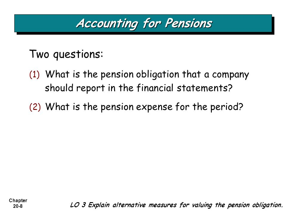 Chapter 20-8 Two questions: (1) (1) What is the pension obligation that a company should report in the financial statements? (2) (2) What is the pensi