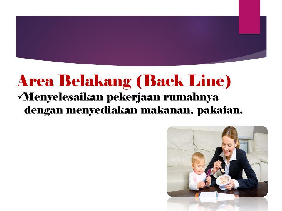 Area Belakang (Back Line) Menyelesaikan pekerjaan rumahnya dengan menyediakan makanan, pakaian.