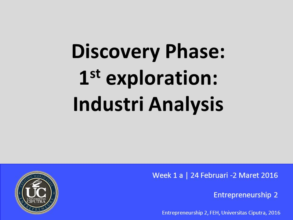 Entrepreneurship 2, FEH, Universitas Ciputra, 2016 Discovery Phase: 1 st exploration: Industri Analysis Entrepreneurship 2 Week 1 a | 24 Februari -2 M