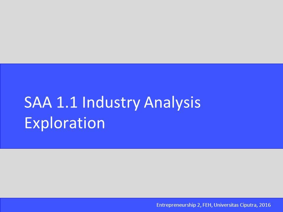 Entrepreneurship 2, FEH, Universitas Ciputra, 2016 1.Explore kondisi industri yang telah team pilih dengan menggunakan point-point analisa berdasarkan Porter's Five Forces.