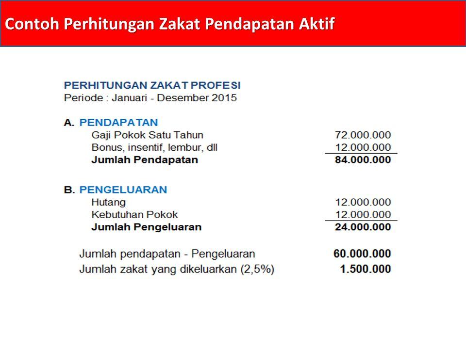 Contoh Perhitungan Zakat Pendapatan Aktif