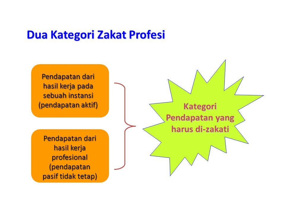 Pendapatan dari hasil kerja pada sebuah instansi (pendapatan aktif) Dua Kategori Zakat Profesi Pendapatan dari hasil kerja profesional (pendapatan pas
