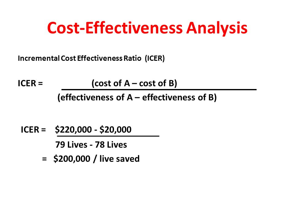 Cost-Effectiveness Analysis Example: _____________________________________________________ Total Cost/ Lives Saved/ Average CE 100 Patients 100 Patients Ratio Drug A $220,000 79 $2784.81/ life saved Drug B $20,000 78 $256.41/ life saved _____________________________________________________