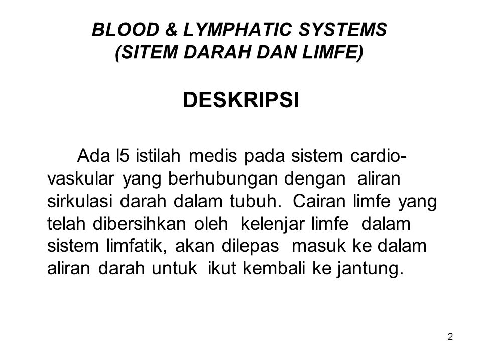 23 ROOTS SISTEM DARAH dan SISTEM LIMFE Bentuk akar kata penggabung sistem darah dan sistem limfe: Kata Penggabung Definisi adenoid/o-  adenoid = adenoid agglutin/o-  to clump = menggumpal angi/o-  vessel = pembuluh ather/o-  fat, fatty plague = lemak, plak lemak bas/o-  base = basa blast/o-  immature cell = sel belum dewasa coagul/o-  clotting = pembekuan darah cyt/o-  cell = sel eosin/o-  red; rosy = kemerahan; senja erythr/o-  red = merah granul/o-  granules = granula, biji-biji.