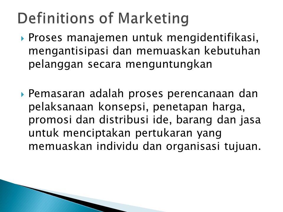  Proses manajemen untuk mengidentifikasi, mengantisipasi dan memuaskan kebutuhan pelanggan secara menguntungkan  Pemasaran adalah proses perencanaan dan pelaksanaan konsepsi, penetapan harga, promosi dan distribusi ide, barang dan jasa untuk menciptakan pertukaran yang memuaskan individu dan organisasi tujuan.