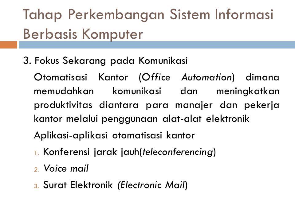 3. Fokus Sekarang pada Komunikasi Otomatisasi Kantor (Office Automation) dimana memudahkan komunikasi dan meningkatkan produktivitas diantara para man