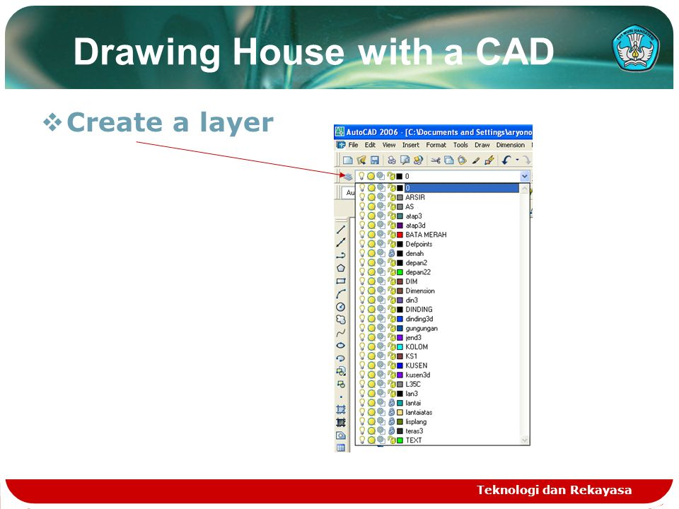 Teknologi dan Rekayasa Drawing House with a CAD  Create a layer