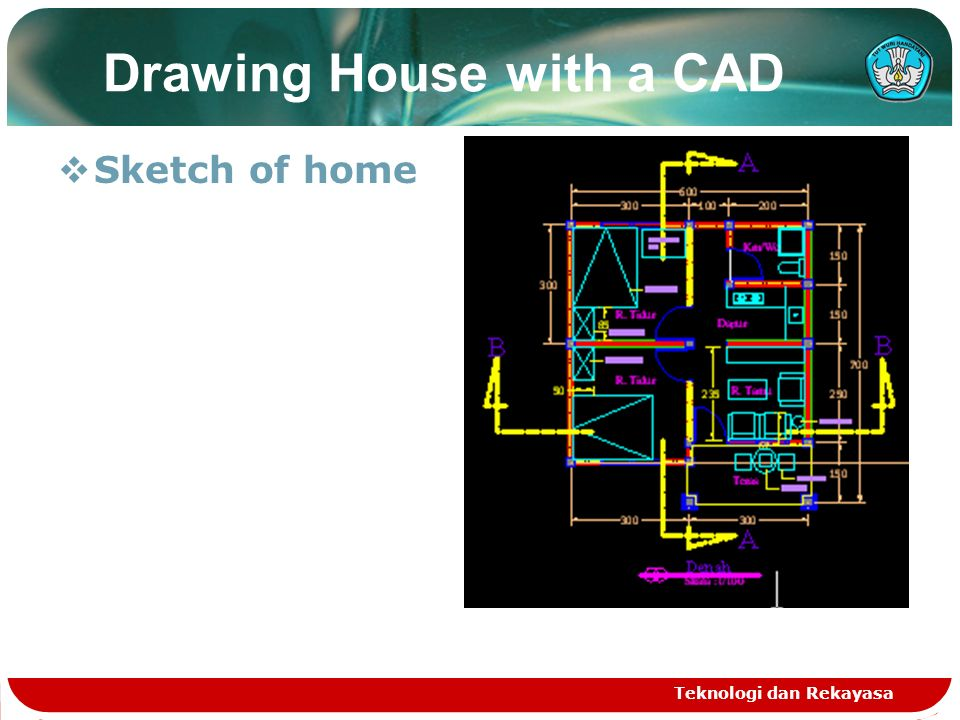 Teknologi dan Rekayasa Drawing House with a CAD  Sketch of home