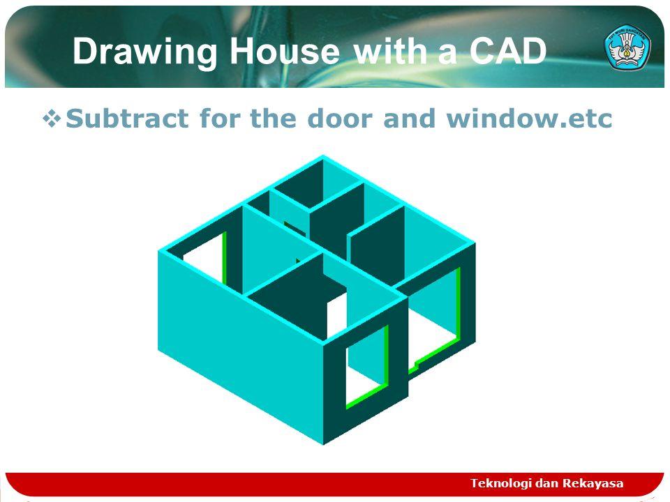 Teknologi dan Rekayasa Drawing the door  Drawing the door, windows  Extrude with height : 15