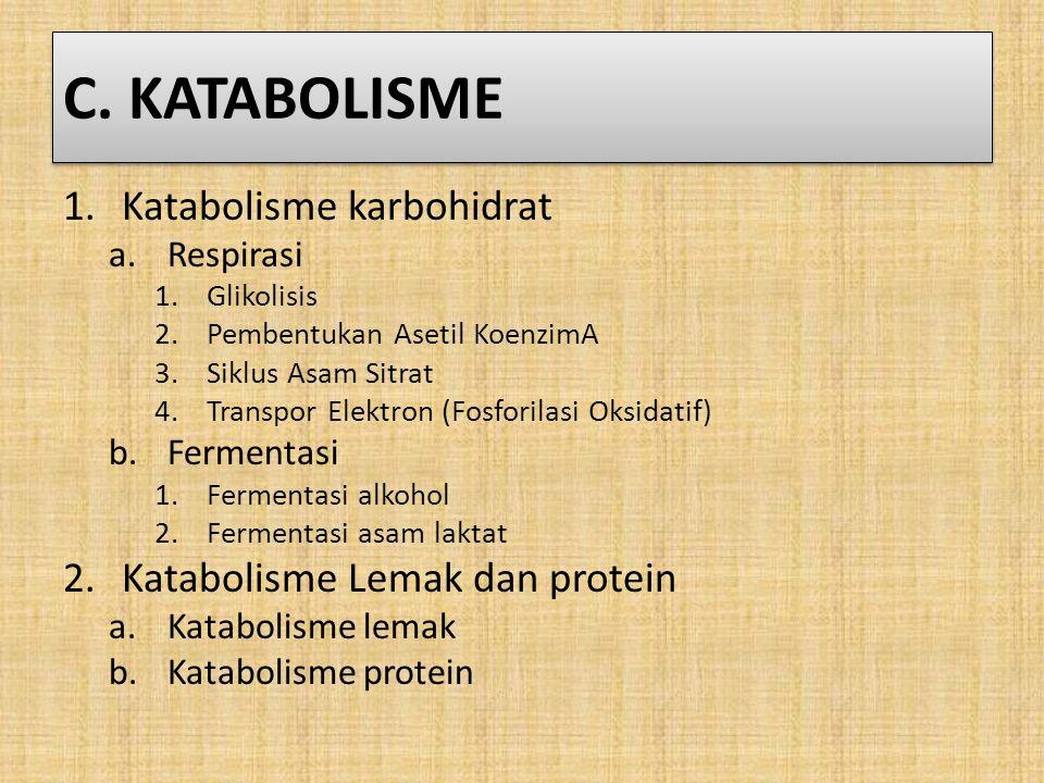 C. KATABOLISME 1.Katabolisme karbohidrat a.Respirasi 1.Glikolisis 2.Pembentukan Asetil KoenzimA 3.Siklus Asam Sitrat 4.Transpor Elektron (Fosforilasi
