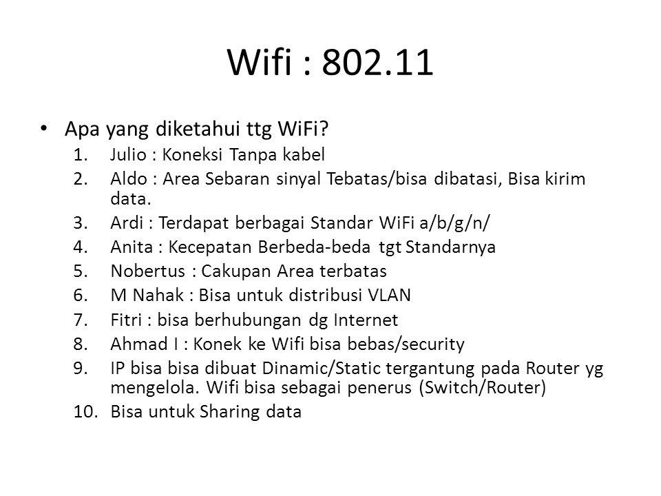 Wifi : 802.11 Apa yang diketahui ttg WiFi? 1.Julio : Koneksi Tanpa kabel 2.Aldo : Area Sebaran sinyal Tebatas/bisa dibatasi, Bisa kirim data. 3.Ardi :